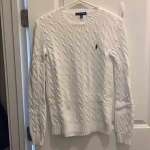 Ralph Lauren white cable knit sweater size Medium